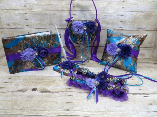 True Timber Blue Camo Wedding Set with Lavender and Purple Shabby Chic Flowers