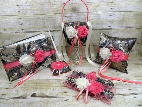 True Timber Brown Camo Wedding Set with Coral Pink Satin Ribbon and Shabby Chic Flowers