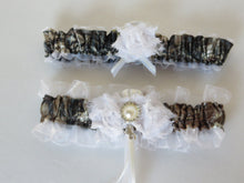 Load image into Gallery viewer, Camo Garter Set, Brown Camo with White shabby chic Flowers