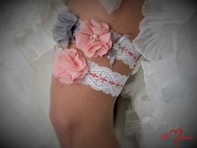 Load image into Gallery viewer, Coral Pink and Gray Garter Set, White Stretch Lace, Wedding Garter, Bridal Garter