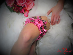 Deer Head Camo Garter Set, Pink Camo Garter Set, Wedding Garter