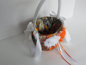 True Timber Orange Camo Flower Girl Basket and/or Ring Bearer Pillow with White & Orange Shabby Chic Flower Accents