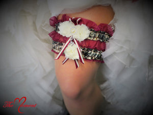 Camo Garter Set with Wine Red