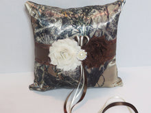 Load image into Gallery viewer, True Timber Brown Camo Wedding Flower Girl Basket and/or Ring Bearer Pillow with Ivory & Brown Shabby Chic Flower Accents