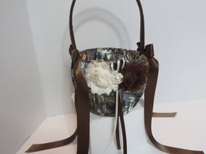 True Timber Brown Camo Wedding Flower Girl Basket and/or Ring Bearer Pillow with Ivory & Brown Shabby Chic Flower Accents