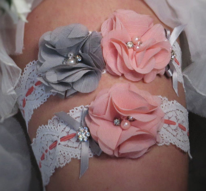 Coral Pink and Gray Garter Set, White Stretch Lace, Wedding Garter, Bridal Garter