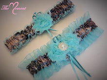 Load image into Gallery viewer, Aqua Camo Garter Set, Camo and Aqua Garter Set