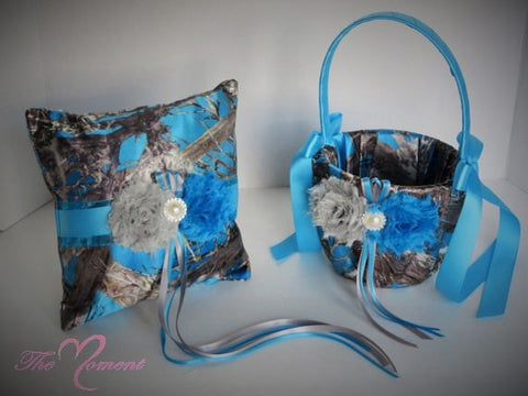 Blue Camo Wedding Flower girl Basket and/or Ring Bearer Pillow