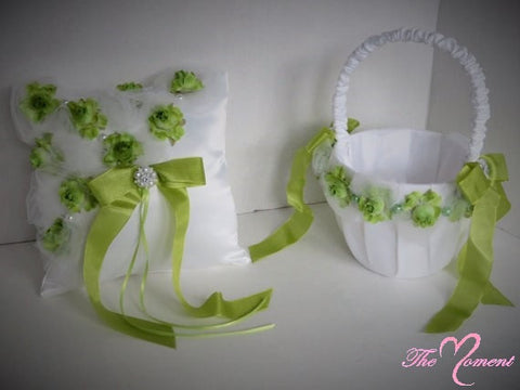 Lime green Wedding Set, Green Wedding Basket, Green Wedding Pillow