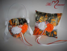 Load image into Gallery viewer, True Timber Orange Camo Flower Girl Basket and/or Ring Bearer Pillow with White & Orange Shabby Chic Flower Accents
