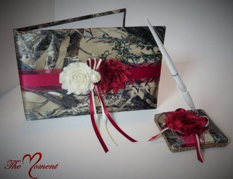 Wine Red Camo Guest Book and Pen Set