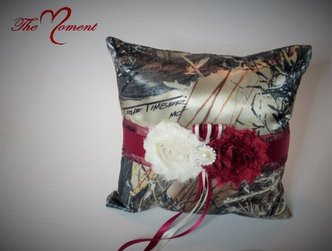 Brown True Timber Camo with Deep Red Ring Bearer Pillow
