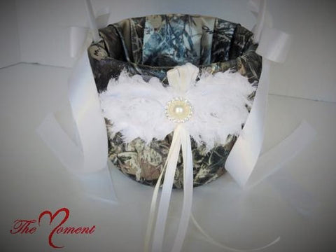 Camo Flower Girl Basket,  True Timber Brown Camo Flower Girl Basket with White Accents
