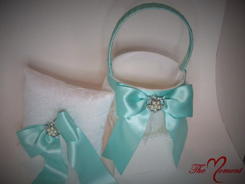 Wedding Flower Basket, Wedding Ring Bearer Pillow, White Satin with Aqua Ribbon