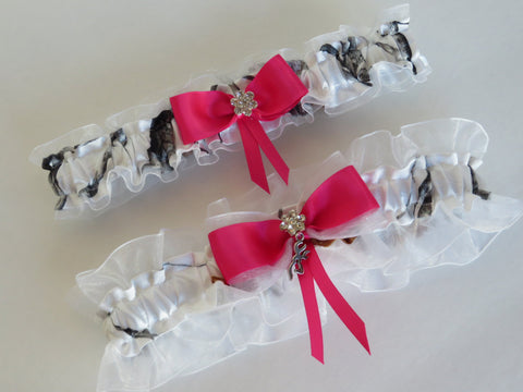 White Camo Garter Set with Hot Pink,
