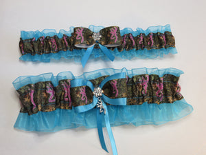 Blue Camo Garter, Pink Deer Head Garter,Bridal Garter, Wedding Garter
