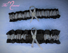 Load image into Gallery viewer, Black and Silver Garter Set