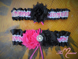 Deer Head Garter, Hot pink Garter, Black and Hot Pink Garter, Pink Deer Head