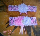 Pink Camo Garter with Orchid