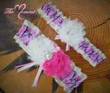 Pink Camo Garter with Ivory