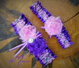 Pink Camo Garter with Purple