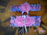 Pink Camo Garter with Lavender