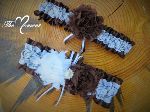 White Camo Garter with Brown