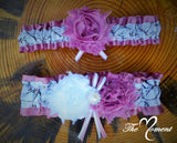White Camo Garter with Rosy Mauve