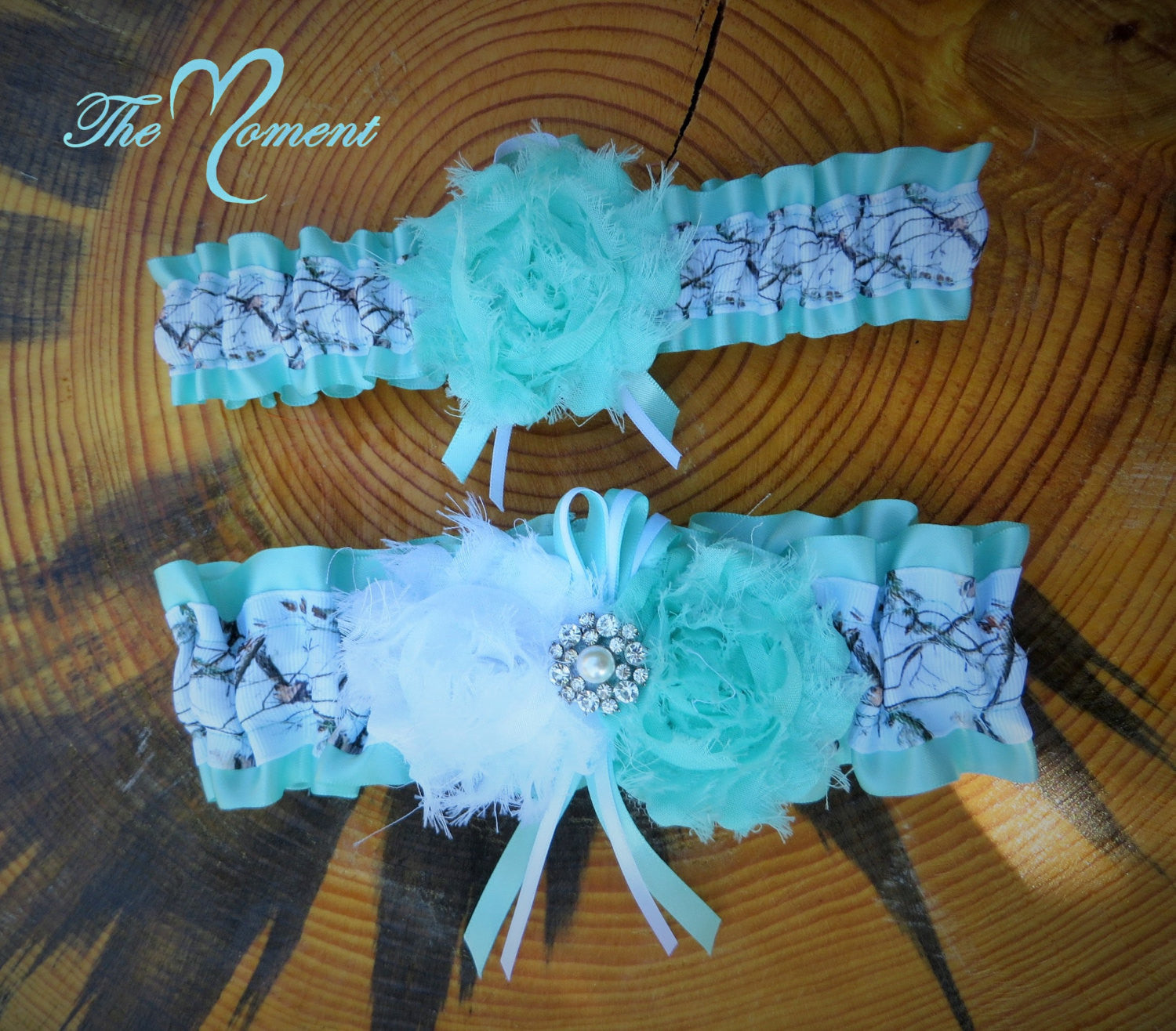 3b85507b0 White Camo Garter Set with Aqua – The Moment Wedding Boutique