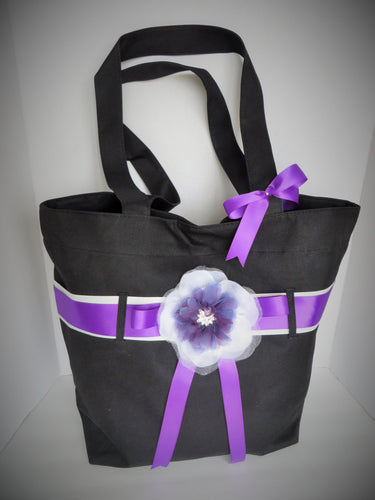 Black and Purple Wedding Bag, Purple Bag,Tote Bag, Wedding Bag