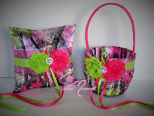 Load image into Gallery viewer, True Timber Sassy B Pink Camo Wedding Flower Girl Basket and/or Ring Bearer Pillow with Shocking Pink and Lime Green Accents