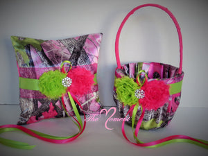 True Timber Sassy B Pink Camo Wedding Flower Girl Basket and/or Ring Bearer Pillow with Shocking Pink and Lime Green Accents