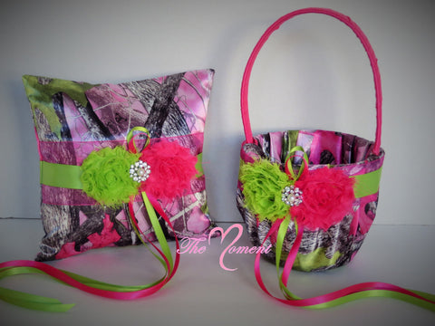 Sassy B Pink True Timber Camo with Hot Pink and Lime Flowers Wedding Flower Girl Basket and/or Ring Pillow