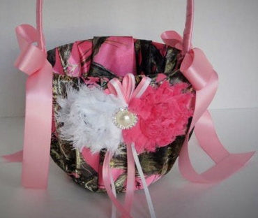 Camo Flower Girl Basket,  True Timber Pink Camo Flower Girl Basket