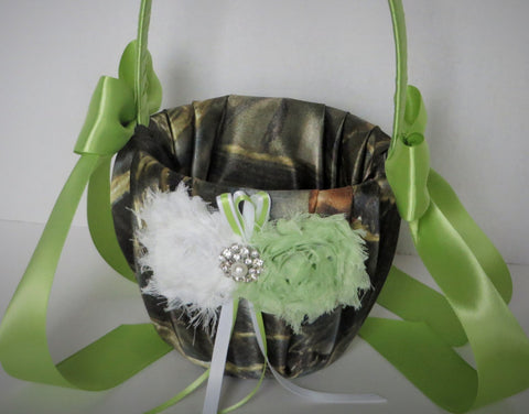 Realtree Camo Flower Girl Basket with Green