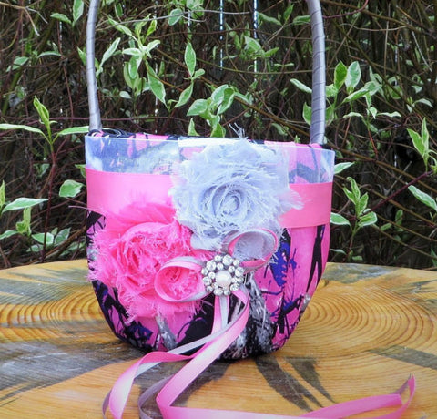 Muddy Girl Camo Flower Girl Basket,  Muddy Girl Flower Girl Basket with Pink