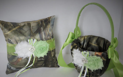 Realtree Max 4 Camo with Lime Green and White Flowers Wedding Flower Girl Basket and/or Ring Pillow