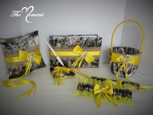 True Timber Brown Camo Wedding Flower Girl Basket and/or Ring Bearer Pillow with Yellow and Burlap Accents