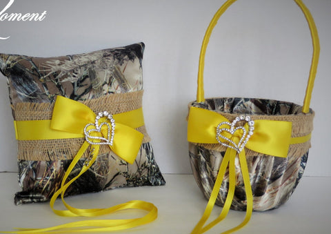 Yellow, Burlap, and Brown Camo Wedding Flower Girl Basket and/or Ring Bearer Pillow