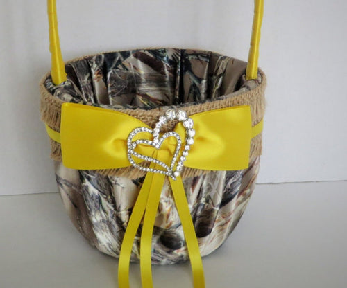 Camo Flower Girl Basket with Yellow Accents and Burlap