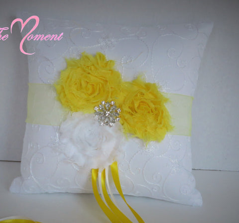 White and Yellow Ring bearer pillow, Customize Wedding Ring Bearer Pillow
