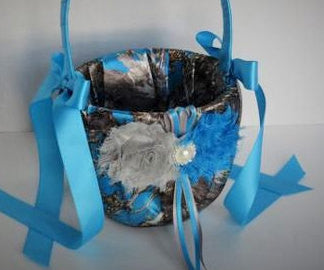 Blue Camo Flower Girl Basket
