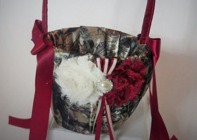 Wine Red Camo Flower Girl Basket
