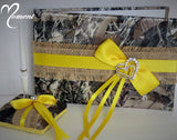 Burlap Guest Book and Pen Set with Yellow Accents