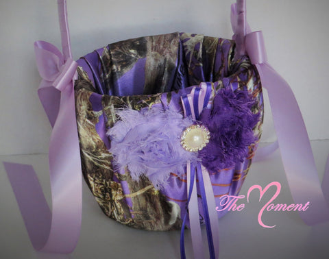 Purple Camo Flower Girl Basket