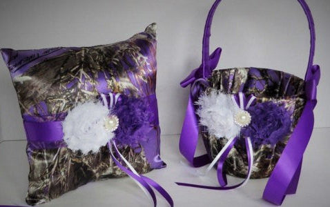 Purple True Timber Camo with White and Purple Flowers Wedding Flower Girl Basket and/or Ring Pillow