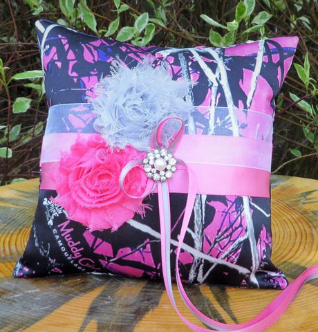 Muddy Girl Camo Ring Bearer Pillow with Pink Accents, Purple Camo Ring Bearer Pillow
