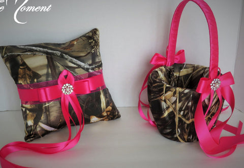 Realtree Max 4 Camo with Hot Pink Ribbon Wedding Flower Girl Basket and/or Ring Pillow