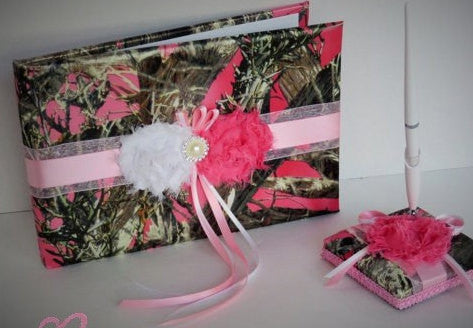 Pink Camo Guest Book and Pen Set