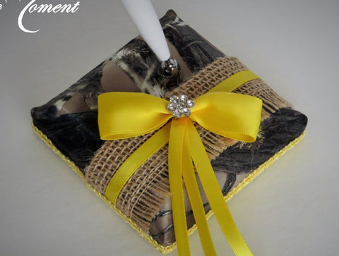 Burlap Camo Pen Set, Wedding Guest Book Pen, Camo Wedding Pen
